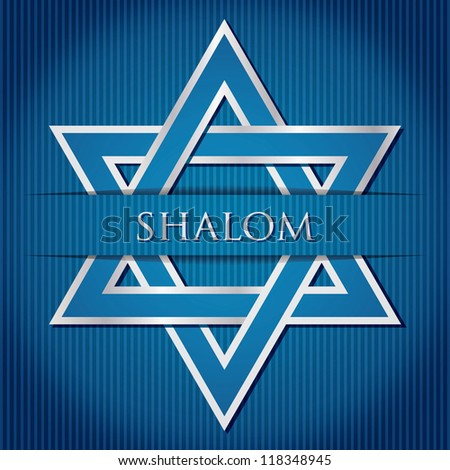 """Shalom"" blue star of David card in vector format."