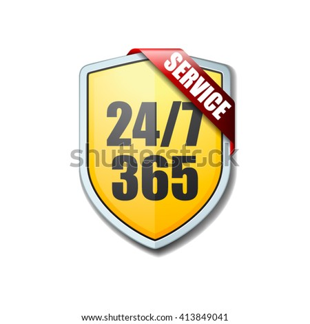 24/7 Shield sign - stock vector