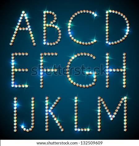 Shiny diamond alphabet letters - eps10 - stock vector