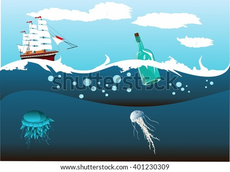 2Ship with white sails running in the ocean waves, underwater world, sea depth. - stock vector