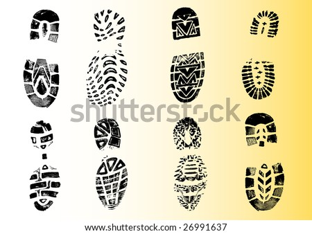 8 Shoeprints - Highly detailed transparent vectors so they can be overliad onto other graphic elements - stock vector