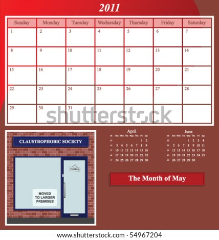 2011 Shop series calendar for the month of May