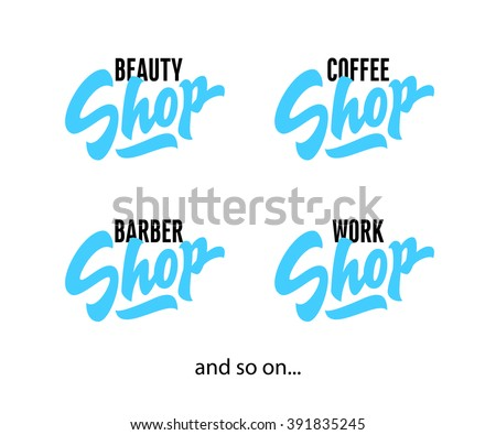 'Shop' vintage hand lettered brush script word for various decorative use for your Local Business. Retro Sign Painting Art. Vector illustration isolated on white background. - stock vector