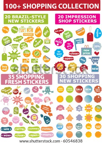 100+ shopping collection - stock vector