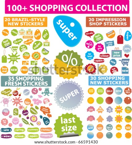 100+ shopping collection signs. vector