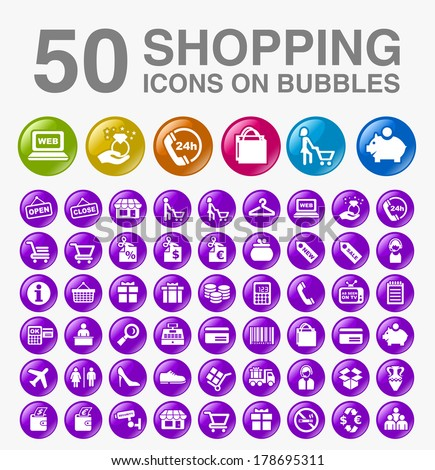 50 Shopping Icons on Bubbles. - stock vector