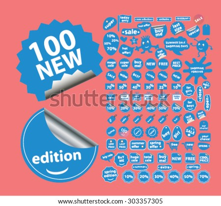 100 shopping, shop stickers, labels, illustrations, signs vector set - stock vector