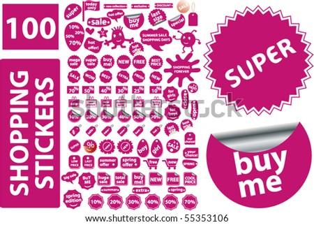 100 shopping stickers. vector - stock vector