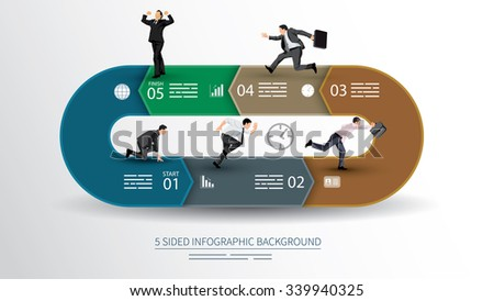 5 sided infographics background for statistics, banners, ads, websites and printed media - stock vector