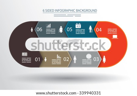 6 sided infographics background for statistics, banners, ads, websites and printed media - stock vector