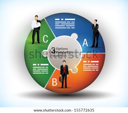 3 sided wheel chart with connected segments and illustration of business people - stock vector