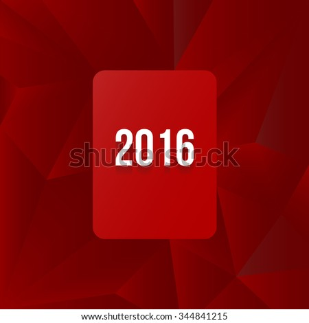 2016 sign on red abstract polygon background. Vector illustration. - stock vector