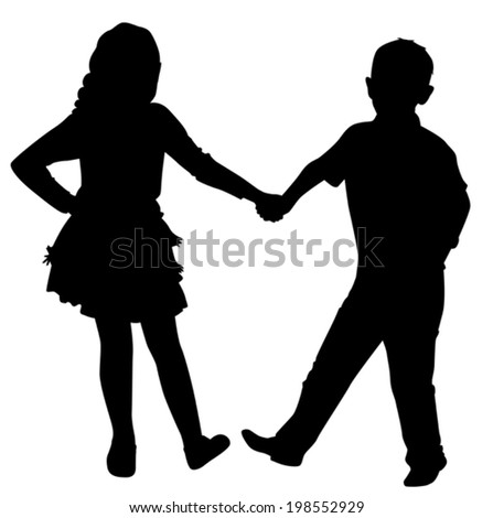 silhouette dancing boy and girl are holding hands on a white background vector - stock vector