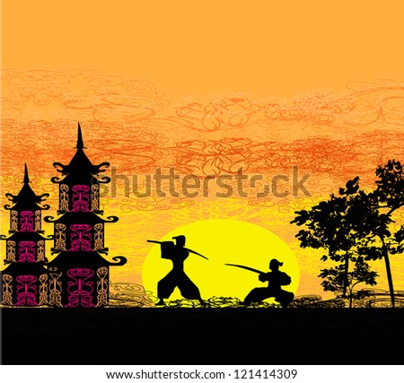 Silhouette illustration of two ninjas in duel - stock vector
