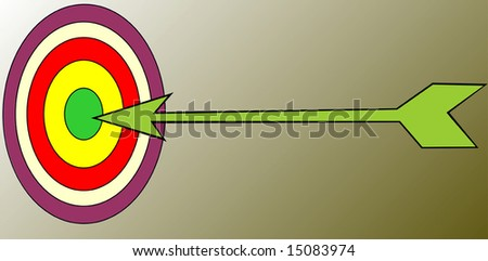 silhouette of a target and arrow - stock vector