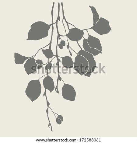 Silhouette of branches of alder - stock vector