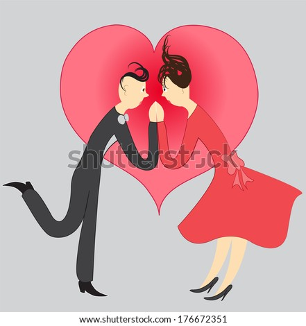Silhouette of dancing couple against the background of the heart