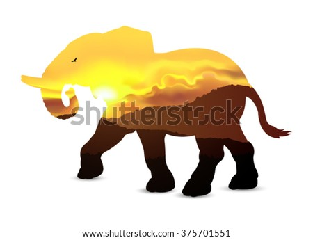 Silhouette of elephant with african savannah and golden sky. Sunset. Eps 10.