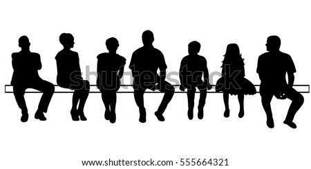 Silhouette People Sittingvector Isolated Stock Vector ...