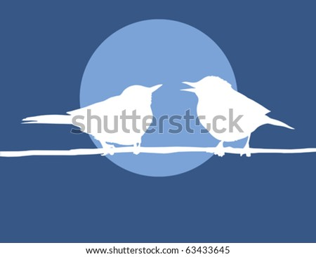 silhouette two birds on background sun - stock vector