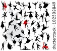 50 Silhouettes of ballerinas and dancer in movement - stock vector