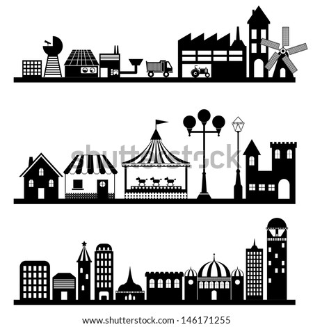 silhouettes of building and city, vector format