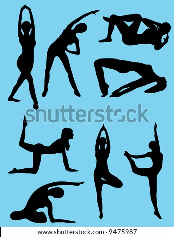 8 Silhouettes of exercising girls - stock vector