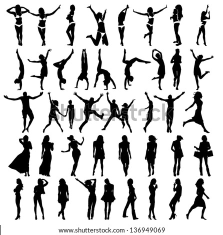 Silhouettes of girls . Vector illustration - stock vector