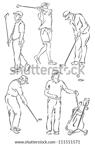 """silhouettes of golfers on a white background"" - stock vector"