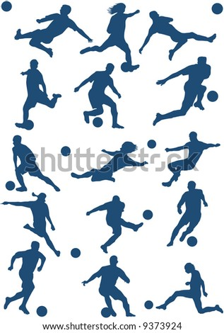 15 Silhouettes of Soccer (football) player. - stock vector