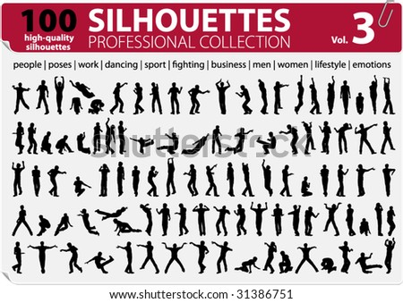 100 Silhouettes Professional Collection Vol. 3 - stock vector