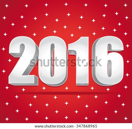 2016 Silver numbers on a red starry background. Happy New Year. Vector greeting card. - stock vector