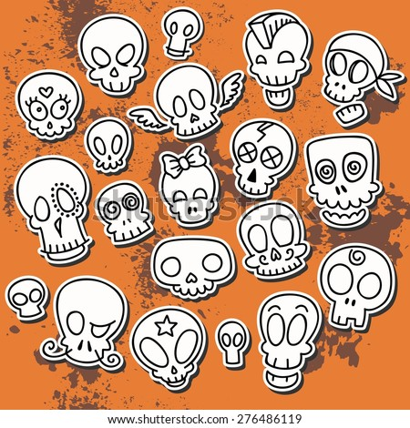 9 simple cute sketchy skulls, vector illustration - stock vector