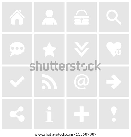 16 simple icon with white basic sign. Gray square shape web internet button on white background. This vector illustration design elements saved 8 eps - stock vector