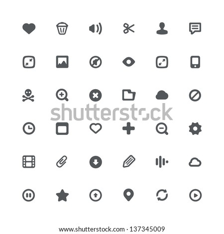 36 simple minimalistic icons for media file features and options