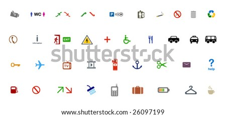 39 simple pictograms. - stock vector