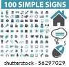 100 simple sings. vector - stock photo