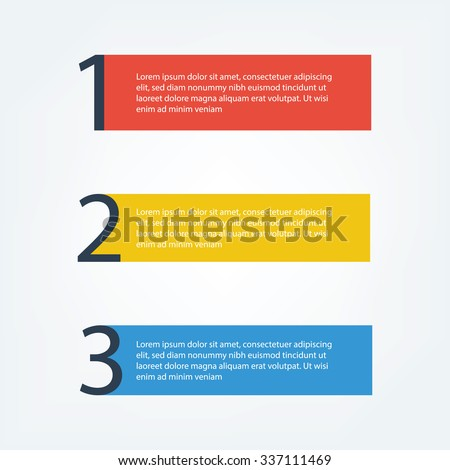 3 Simple Steps, red, yellow, blue color , 1 2 3 - stock vector