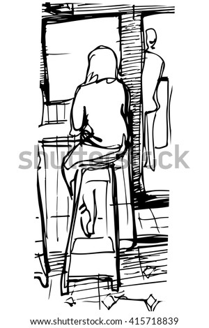 single woman drinking coffee at the bar on a stool
