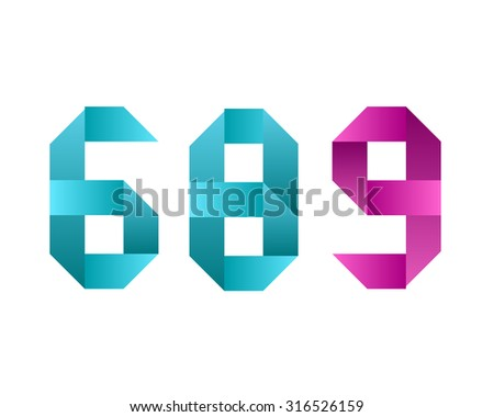 6 8 9, six eight and nine letter symbol logo icon in ribbon style - stock vector
