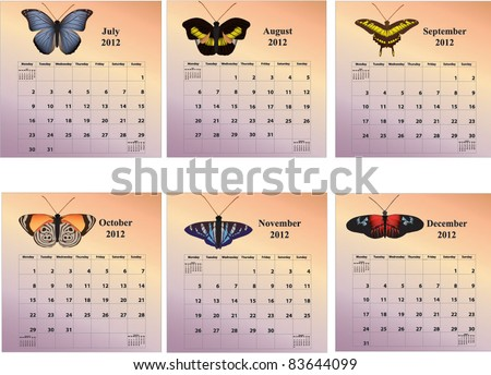 2012 six-month butterfly calendars with week starting on Monday covering months July through December