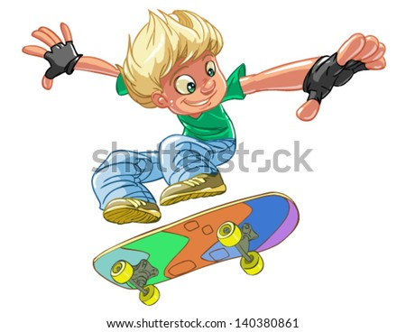 Skateboarder jumping isolated on white background