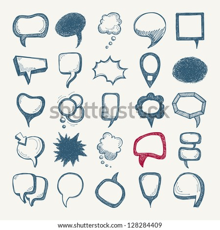 25 sketch different speech bubble collection - stock vector