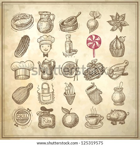 25 sketch doodle icons food on grunge paper background - stock vector