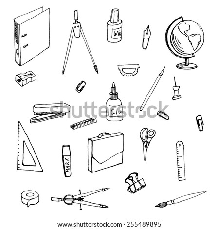 sketches office supplies.  vector illustration - stock vector