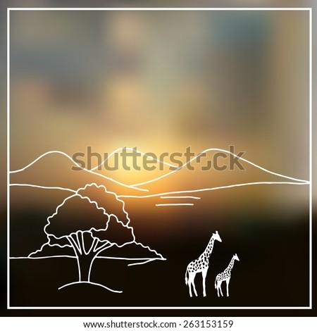 Sky blurred defocused landscape background with african savanna  - stock vector