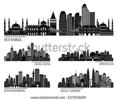 skyline detailed silhouette set (Istanbul, Hong Kong, Jerusalem, Kuala Lumpur, Johannesburg). Vector illustration - stock vector