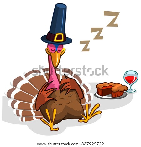 Sleeping turkey after good meal with pie and glass of red vine. Thanksgiving illustration of cartoon turkey isolated on white background - stock vector