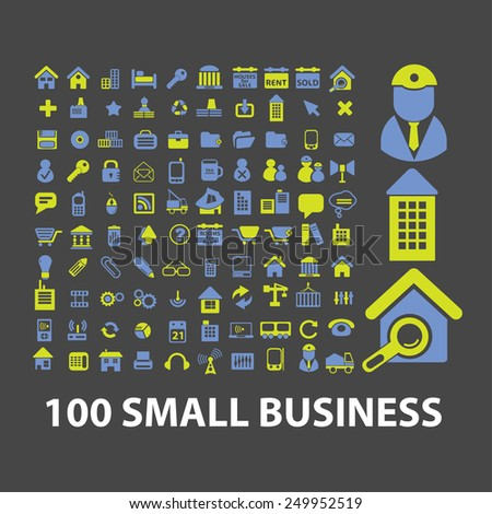 100 small business, management, marketing, sales, retail icons, signs, illustrations on background set, vector