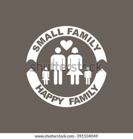 Small Family Happy Family Icon on Dark Gray Color. Eps-10. - stock vector